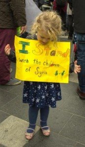 Sophie Grundulis at the Dublin Demo for the Refugee Crisis