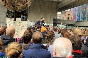 Mehmet Uludag (Organiser) addressing protesters at the Dublin Refugee Demo