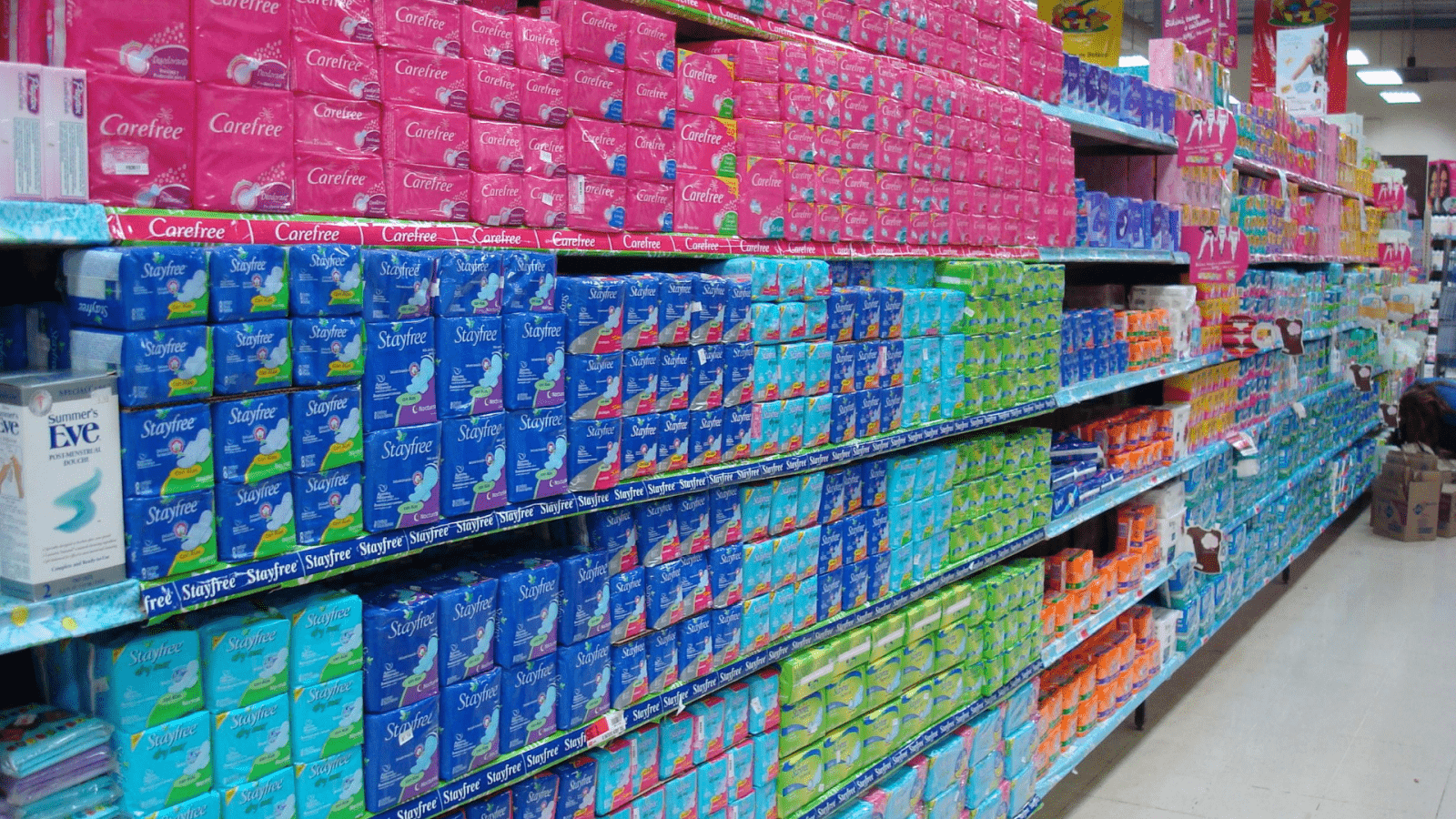 shopping aisle of period products