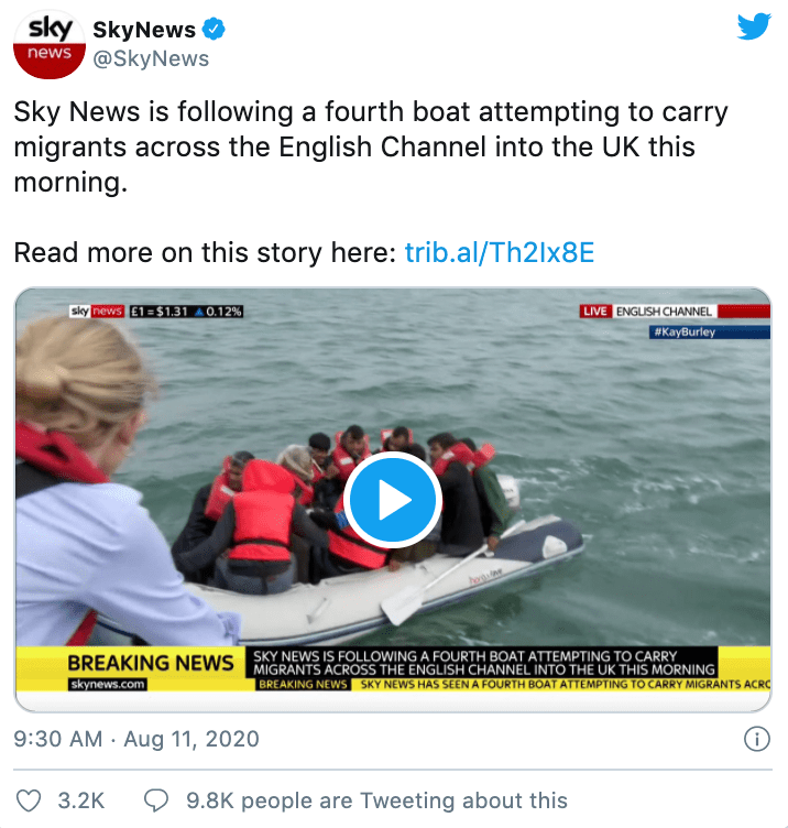sky news reporting refugees english channel 2020