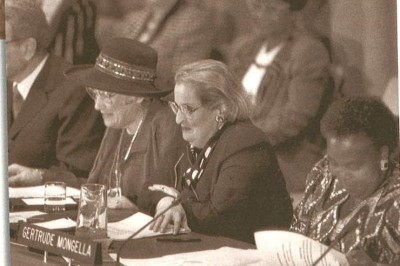 In Beijing, conference Chair Gertrude Mongella (R) with (L-R) WEDO's Bella Abzug and Madeline Albright, then U.S. Secretary of State