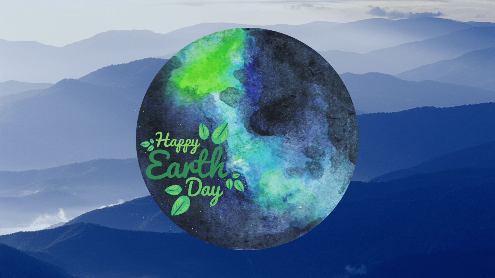 "slogan on globe saying ""happy earth day"""