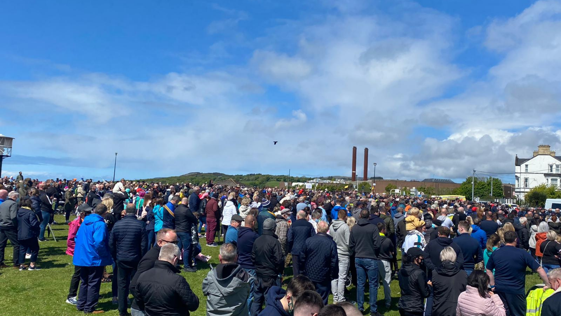 thousands gathered at Buncrana's Shore Front to protest