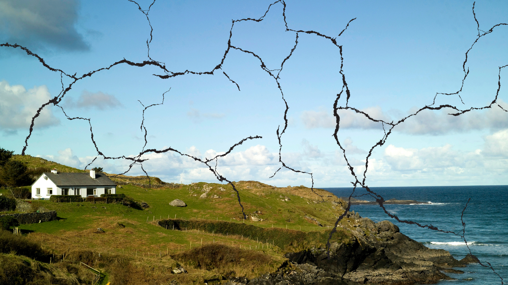 house in Donegal country side with cracks