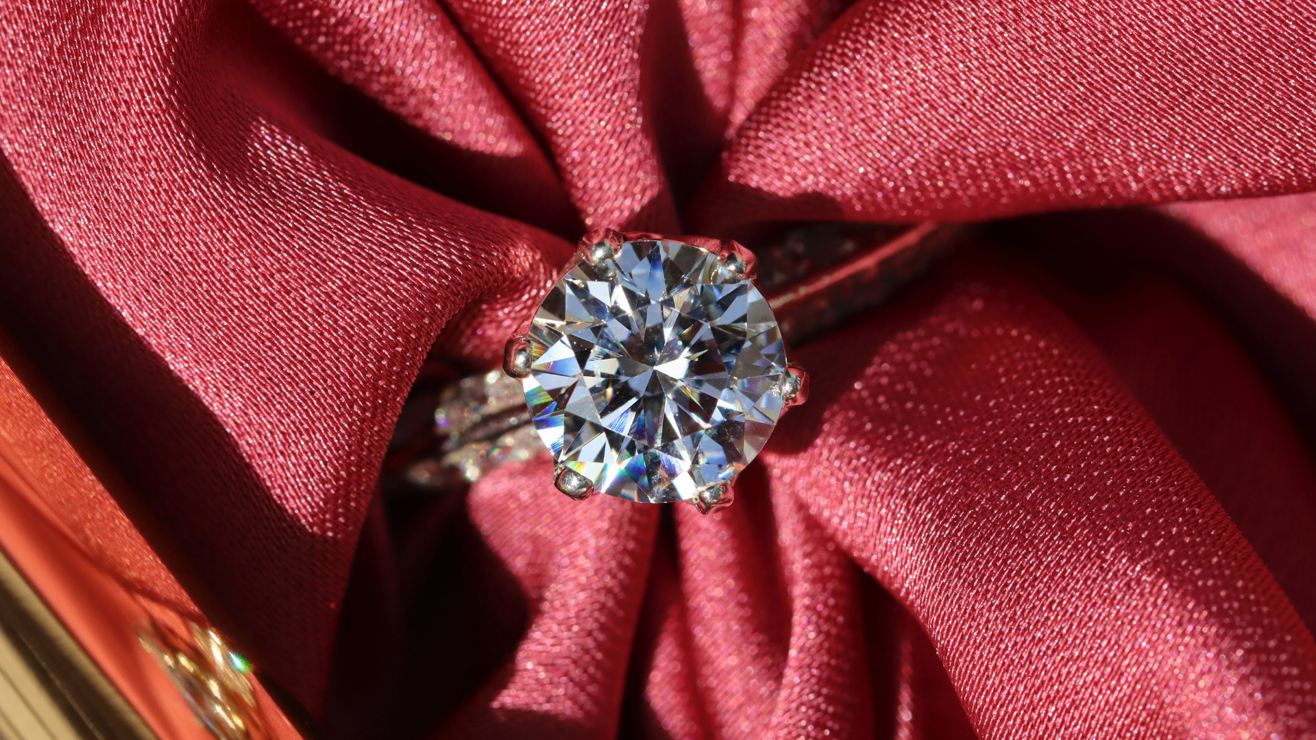 diamond on red background