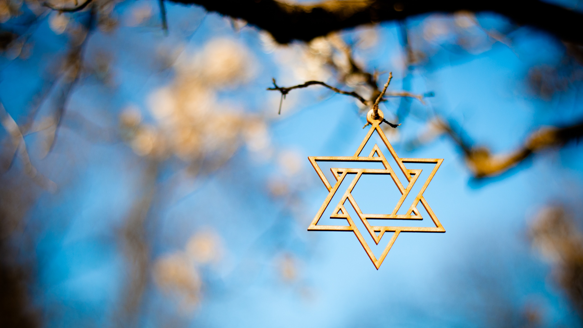 star of david against blue background