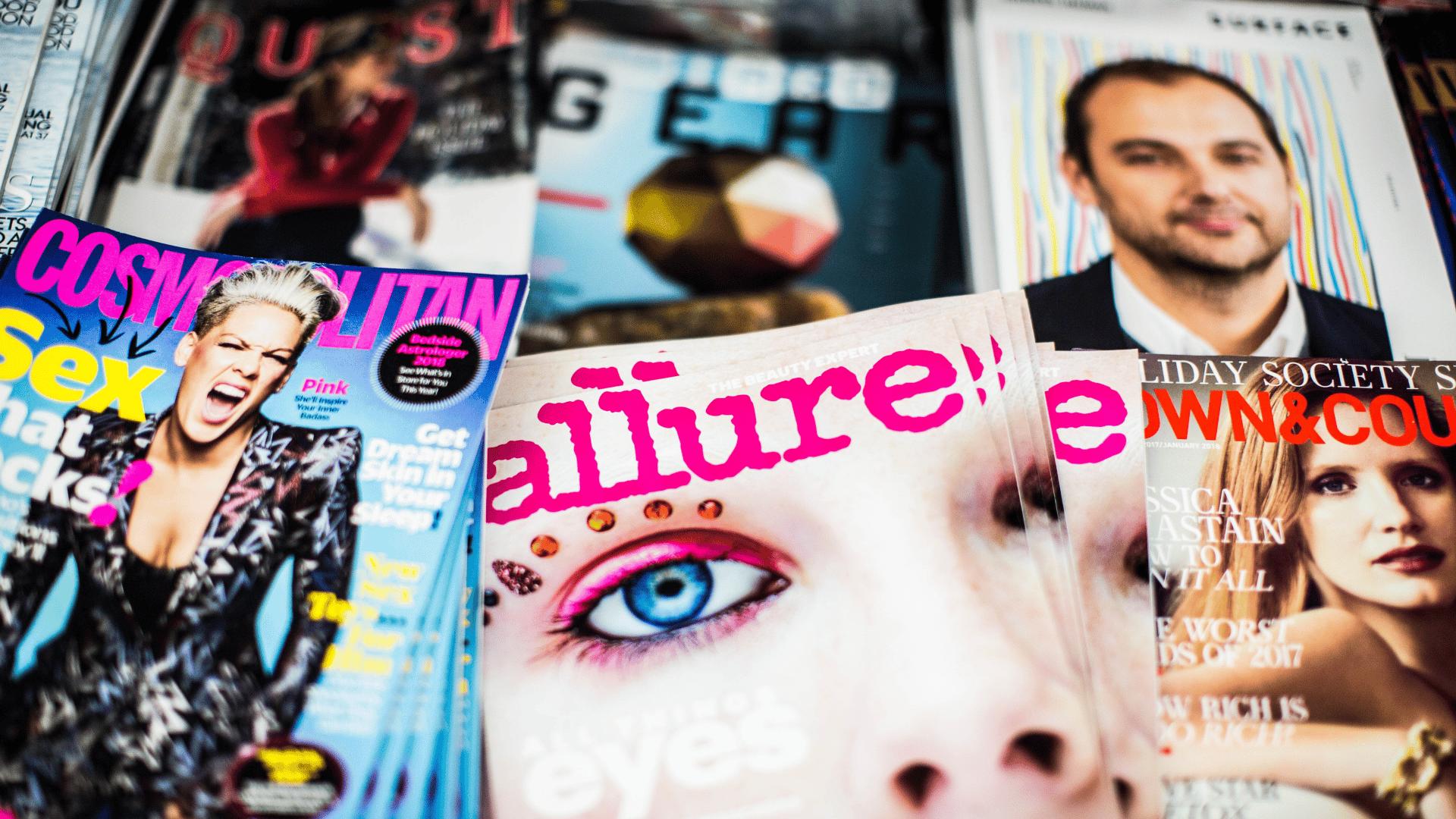pile of women's magazines